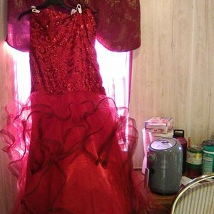 A hand made red dress